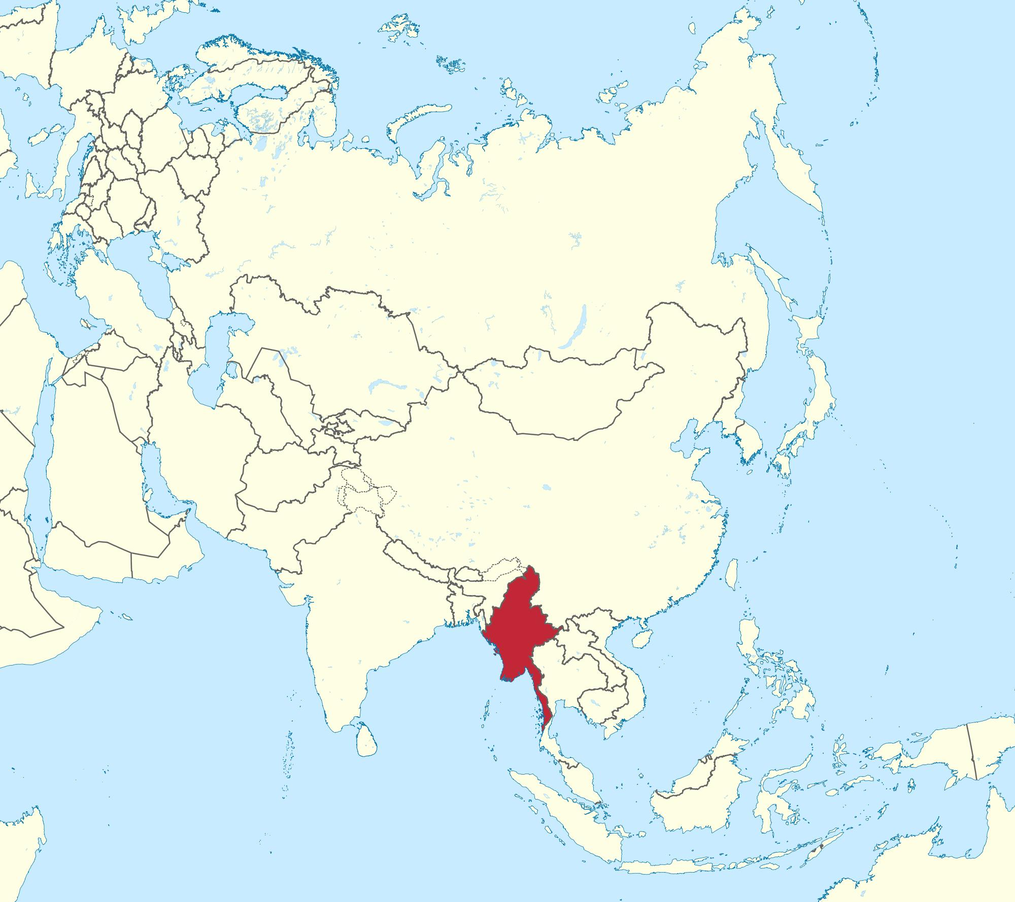 Burma In World Map World Map Myanmar Burma South Eastern Asia Asia