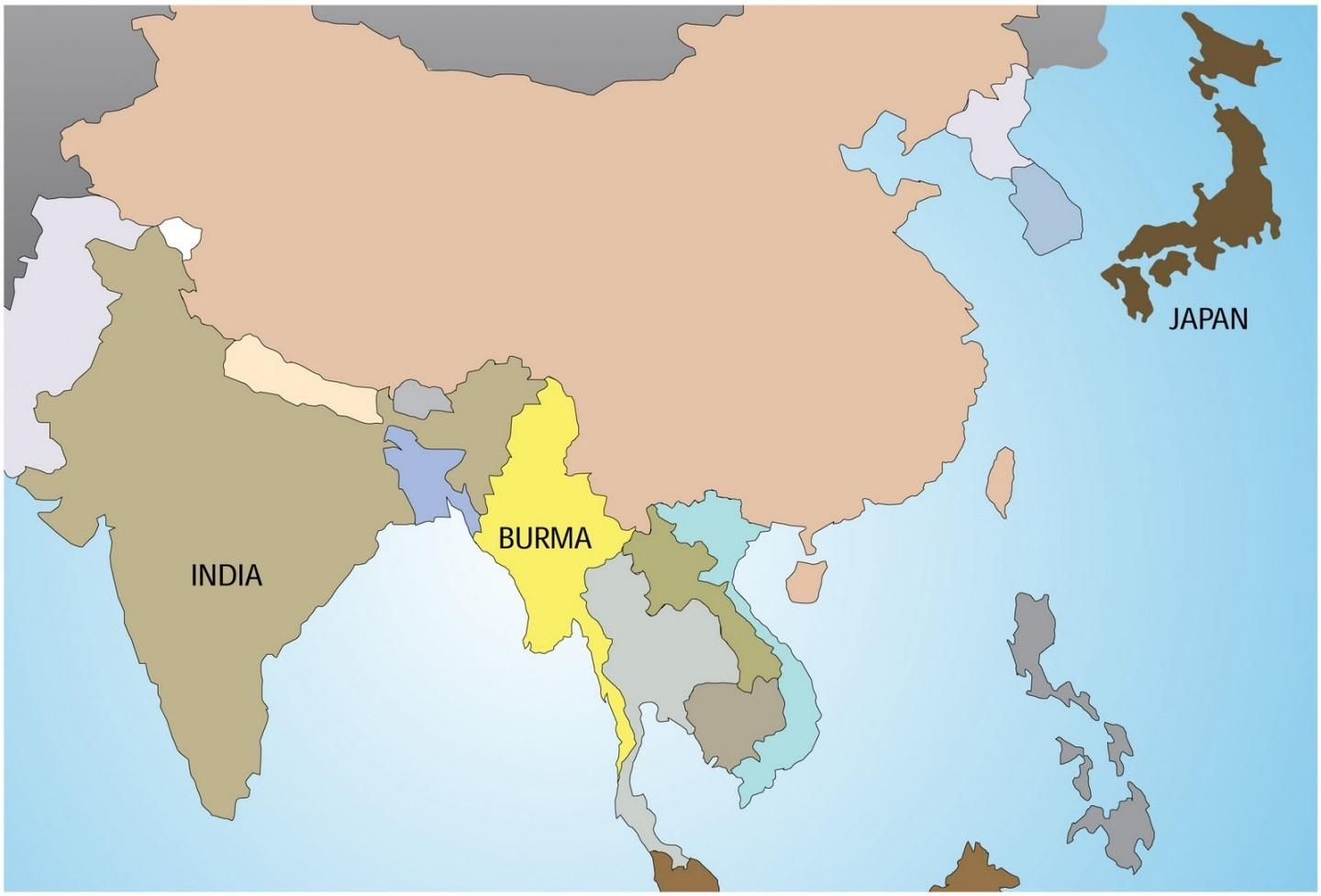 Map Of Burma Myanmar In World Map South Eastern Asia Asia