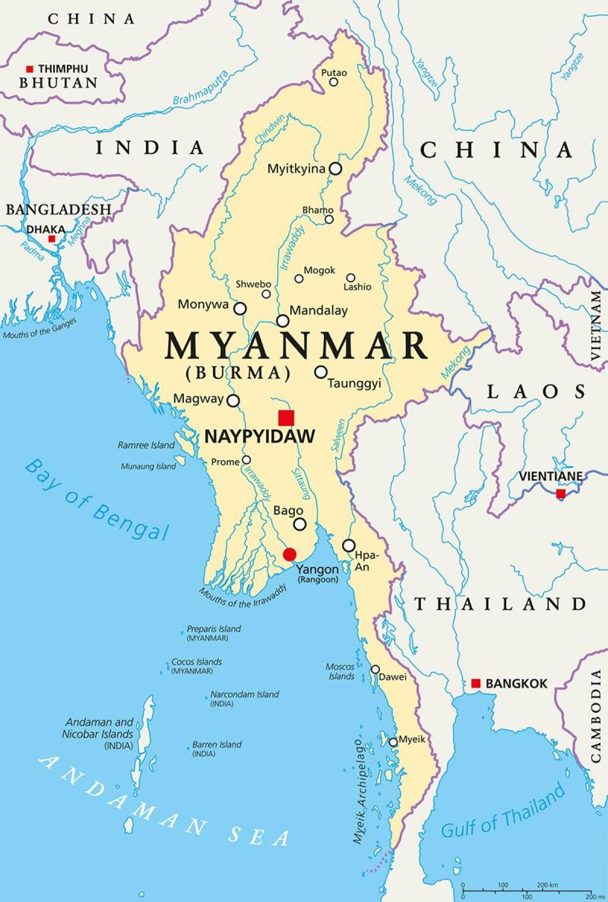 Burma country map - Myanmar country map (South-Eastern Asia - Asia)