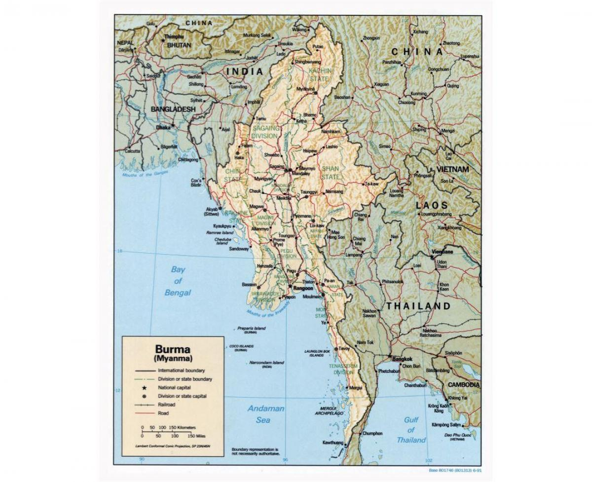 map of Myanmar with cities