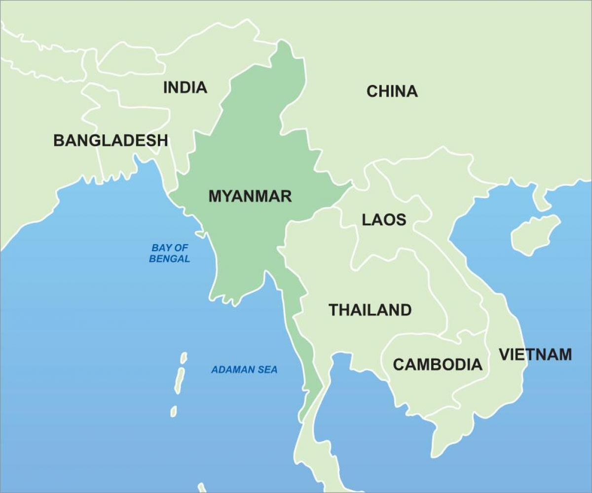 Myanmar on asia map