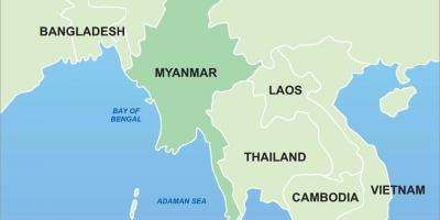 Myanmar on map of asia