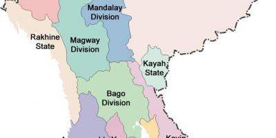 Myanmar map and states